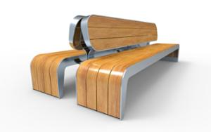 street furniture, ławki miejskie, double-sided , 230v and/or usb socket, seating, wood backrest, wood seating