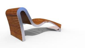 street furniture, ławki miejskie, seating, chaise longue, curved, wood seating, high backrest
