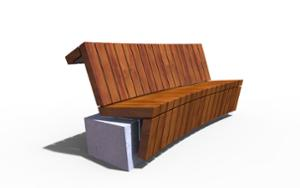 street furniture, ławki miejskie, concrete, smooth concrete, seating, modular, wood backrest, curved, wood seating