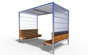 street furniture, other, seating, wood backrest, wood seating, canopy