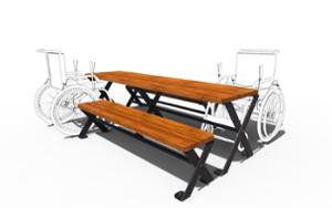 street furniture, ławki miejskie, picnic set, bench, accessible for disabled, wood seating, table, vintage