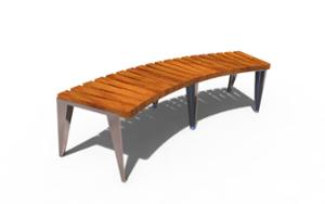 street furniture, bench, curved, wood seating
