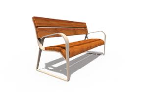 street furniture, seating, wood backrest, wood seating