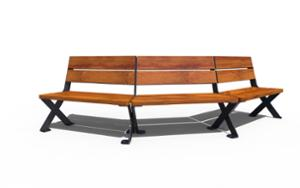 street furniture, ławki miejskie, seating, curved, wood seating, vintage