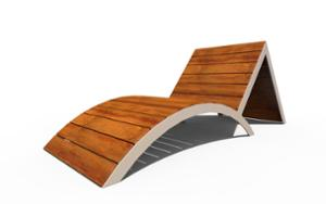 street furniture, seating, chaise longue, wood backrest, wood seating