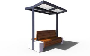 street furniture, ławki miejskie, concrete, smooth concrete, double-sided , other, seating, modular, wood backrest, wood seating, canopy, shade
