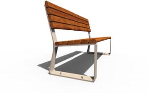 street furniture, seating, for warsaw, odlew aluminiowy, wood backrest, wood seating