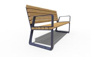 street furniture, seating, for warsaw, odlew aluminiowy, wood backrest, armrest, wood seating