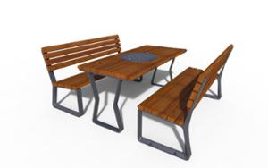 street furniture, aluminium, other, picnic set, seating, for warsaw, odlew aluminiowy, wood backrest, wood seating, table, chess