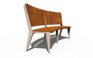 street furniture, ławki miejskie, horizontal planks, seating, wood backrest, curved, wood seating