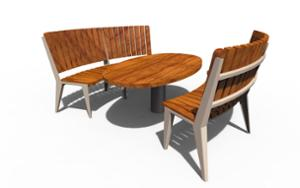 street furniture, ławki miejskie, horizontal planks, other, picnic set, seating, wood backrest, curved, wood seating, table