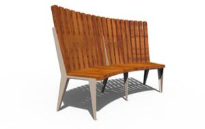 street furniture, ławki miejskie, horizontal planks, seating, wood backrest, curved, wood seating, high backrest