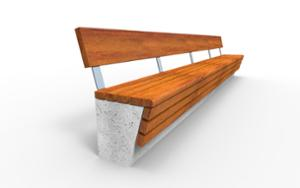 street furniture, concrete, smooth concrete, seating, wall top, wood backrest, wood seating