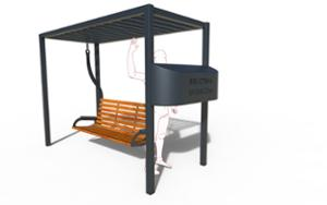 street furniture, community library, swing, other, seating, pergola