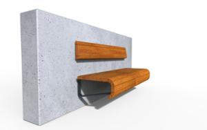 street furniture, ławki miejskie, concrete, smooth concrete, attached to wall, seating, wood backrest, wood seating