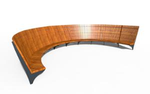 street furniture, ławki miejskie, price per metre, length measured on longer side, seating, modular, wood backrest, curved, wood seating, high backrest