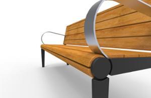 mała architektura, ławka, logo, oparcie z drewna, siedzisko z drewna